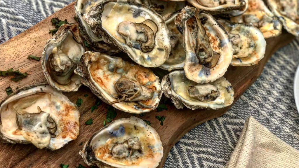 a plate of grilled oysters