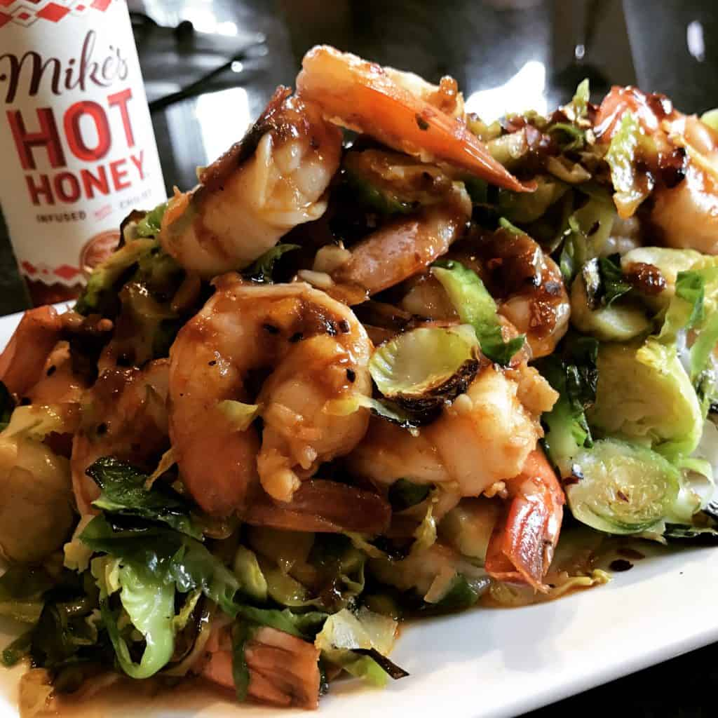 spicy honey shrimp with Brussels sprouts