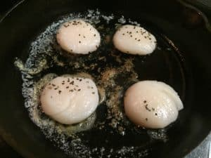 Searing Scallops in a cast iron pan