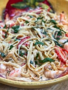 Fettucine with Shrimp in a Sweet Red Pepper Cayenne Sauce