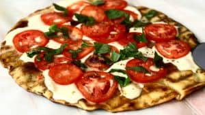 a grilled pizza