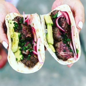 two hangar steak tacos