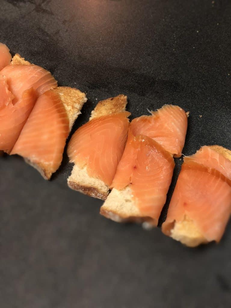 salmon wrapped on toast