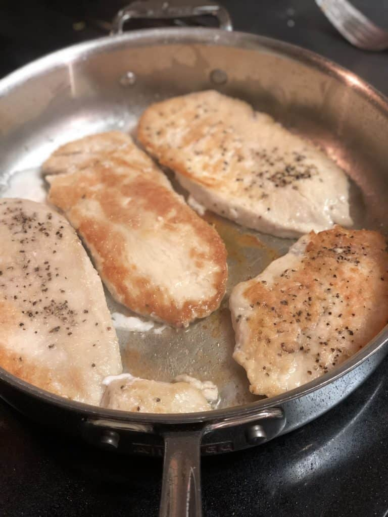 chicken browning for lemon chicken