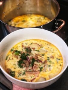 a bowl of Zuppa Toscana soup