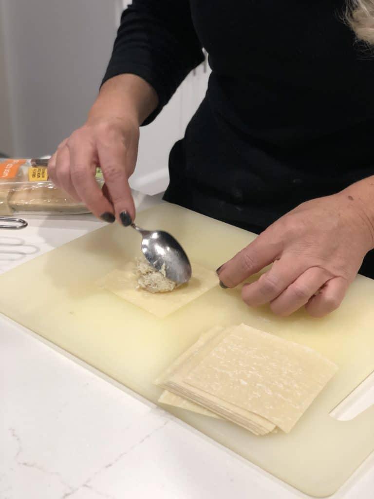 filling crab ravioli