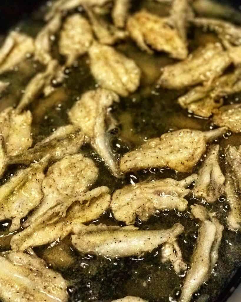 Smelt frying in oil