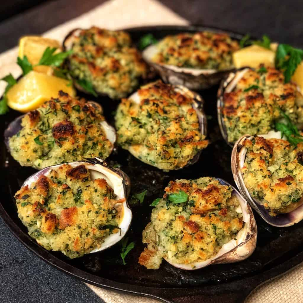 a plate of clams oreganata