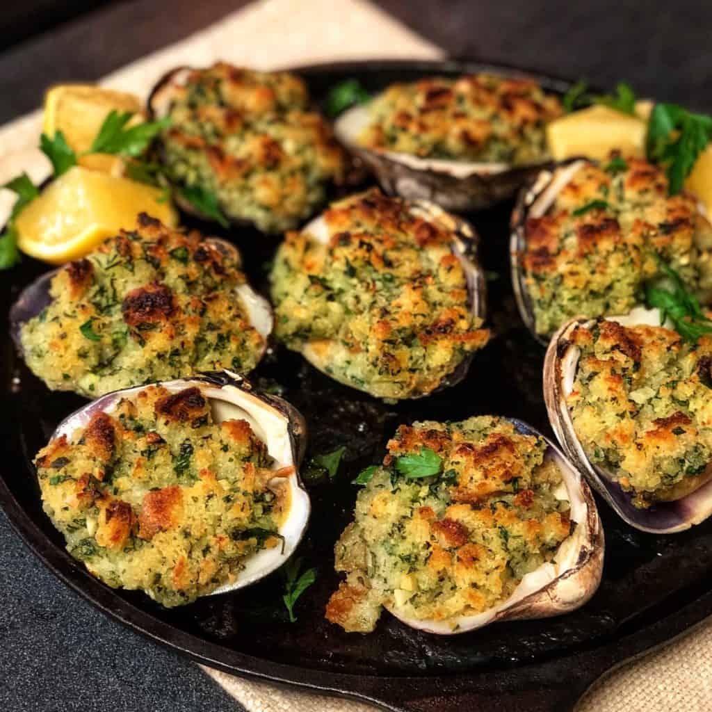 a plate of clams oreganata