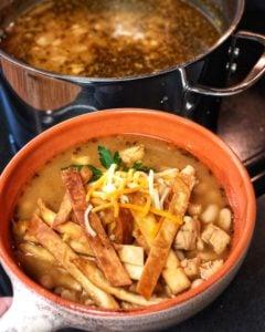 a bowl of white chicken chili