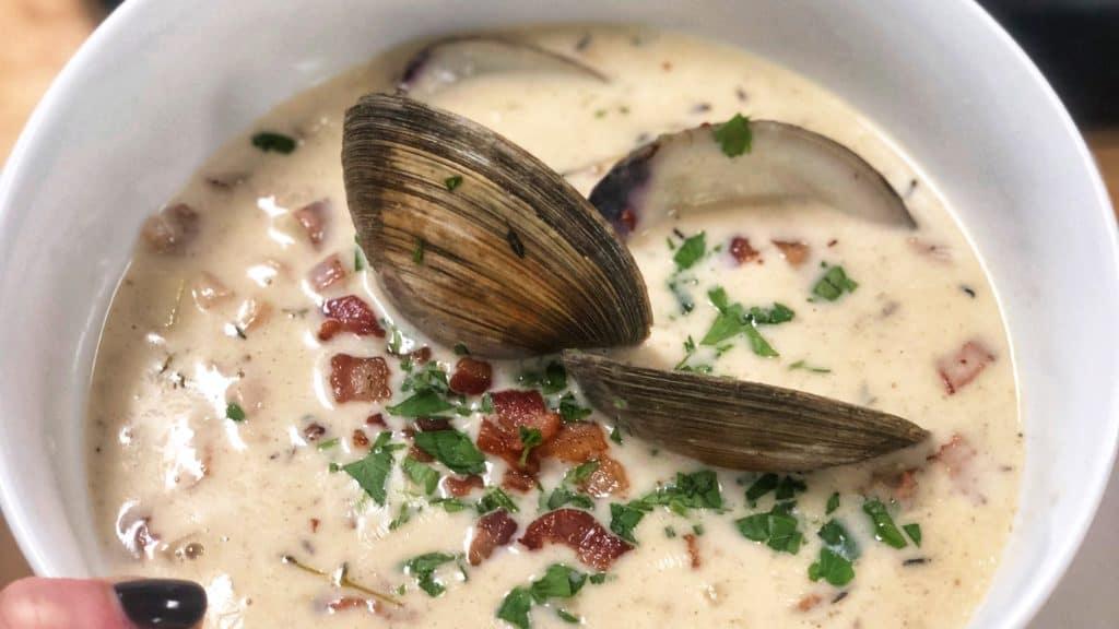 a bowl of New England clam chowder