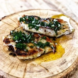 Chilean sea bass with chimichurri sauce