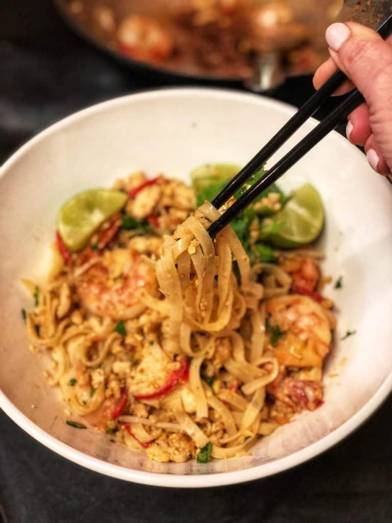 pad Thai in a white bowl