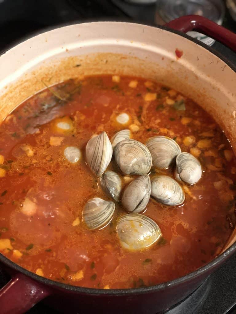 clams in Manhattan clam chowder