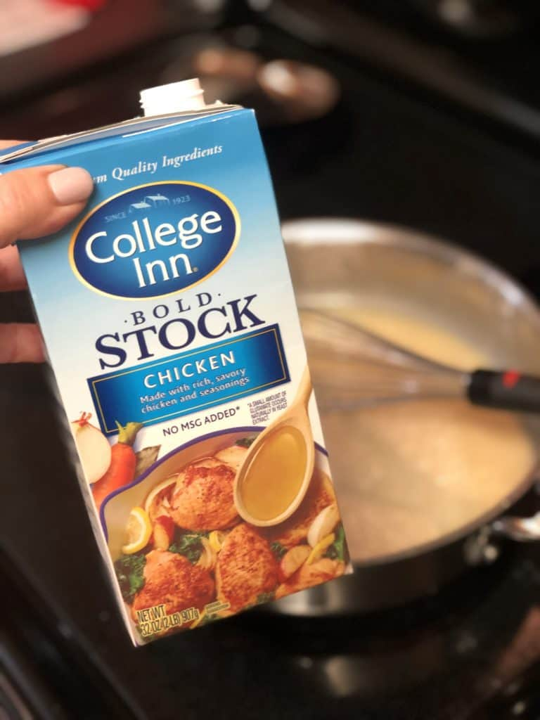 a carton of chicken stock