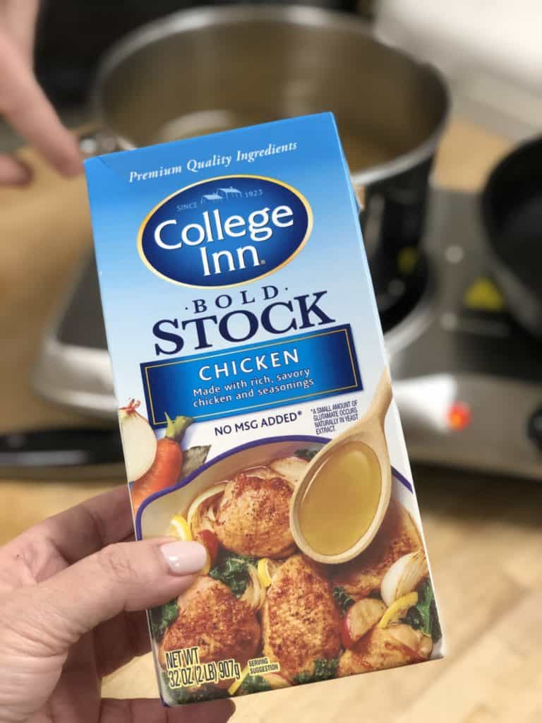 a box of chicken stock