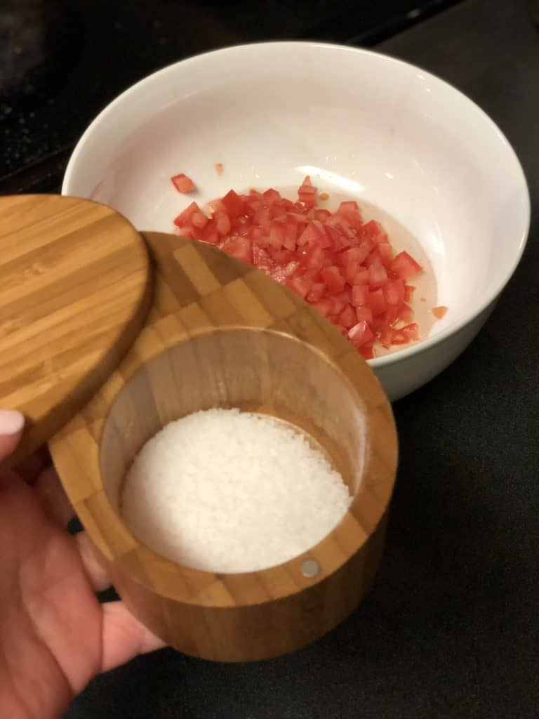 kosher salt in a salt keeper