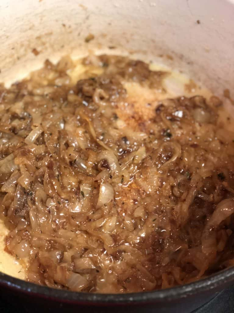 caramelized onions in a pot