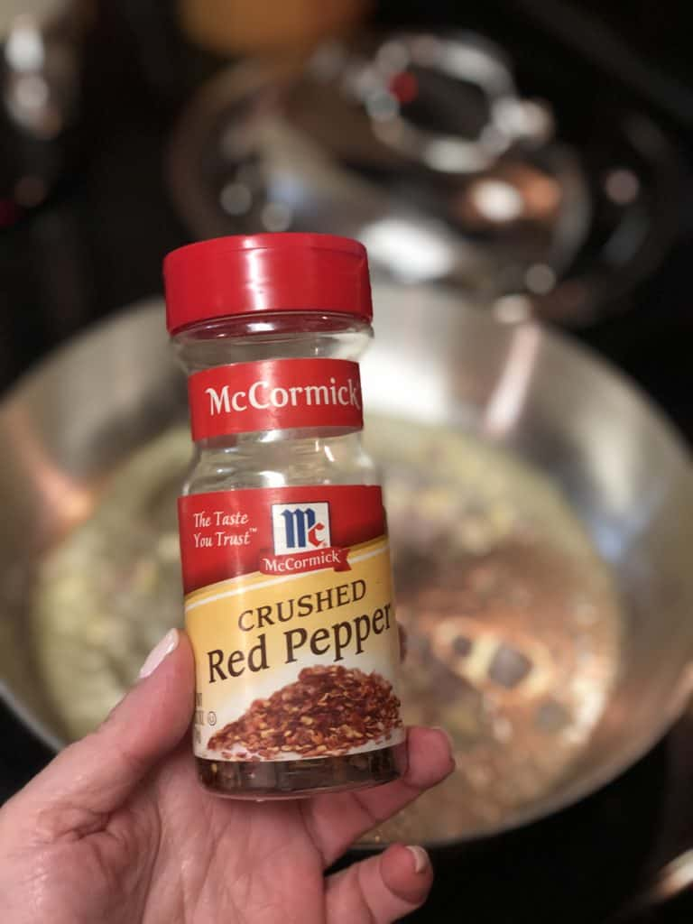 a jar of crushed red pepper flakes