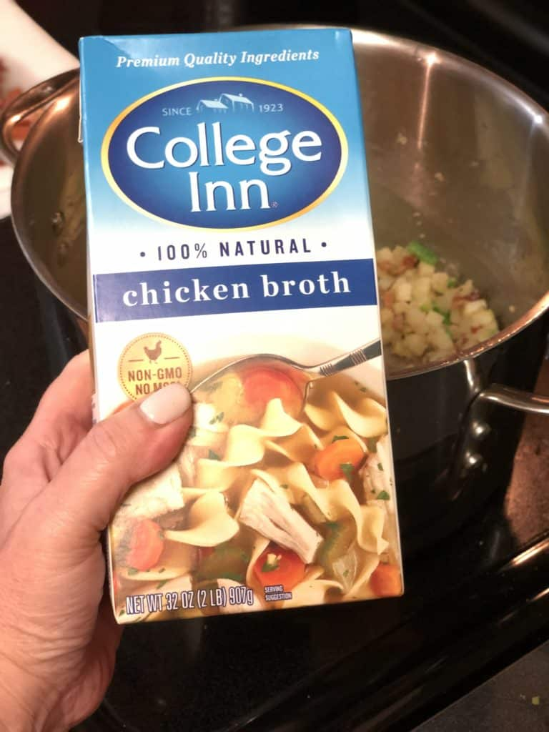 a box of chicken broth for my crab and corn chowder