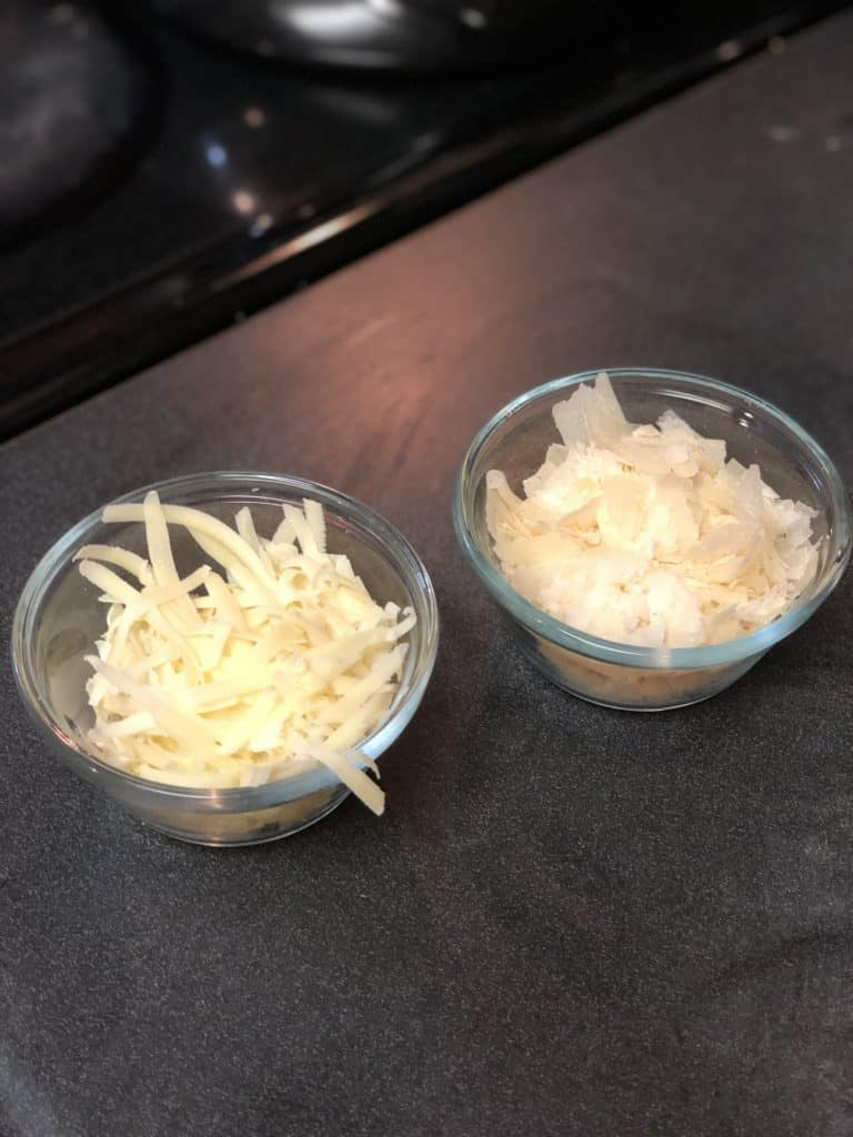 cheese in two glass bowls