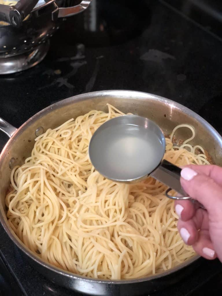 a cup of pasta water