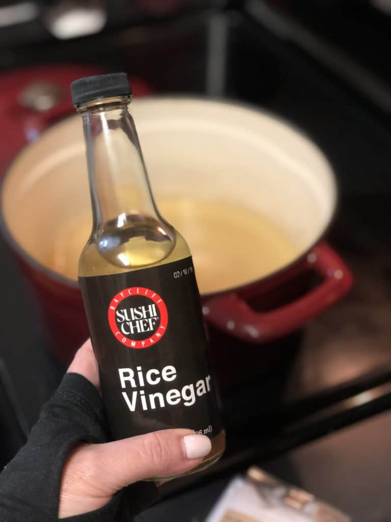 a bottle of rice vinegar