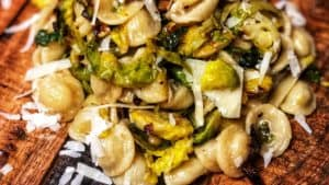 Orecchiette with Brussels sprouts and cheese