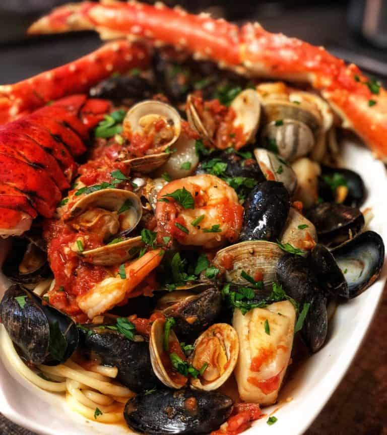 a bowl of Seafood Fra Diavolo