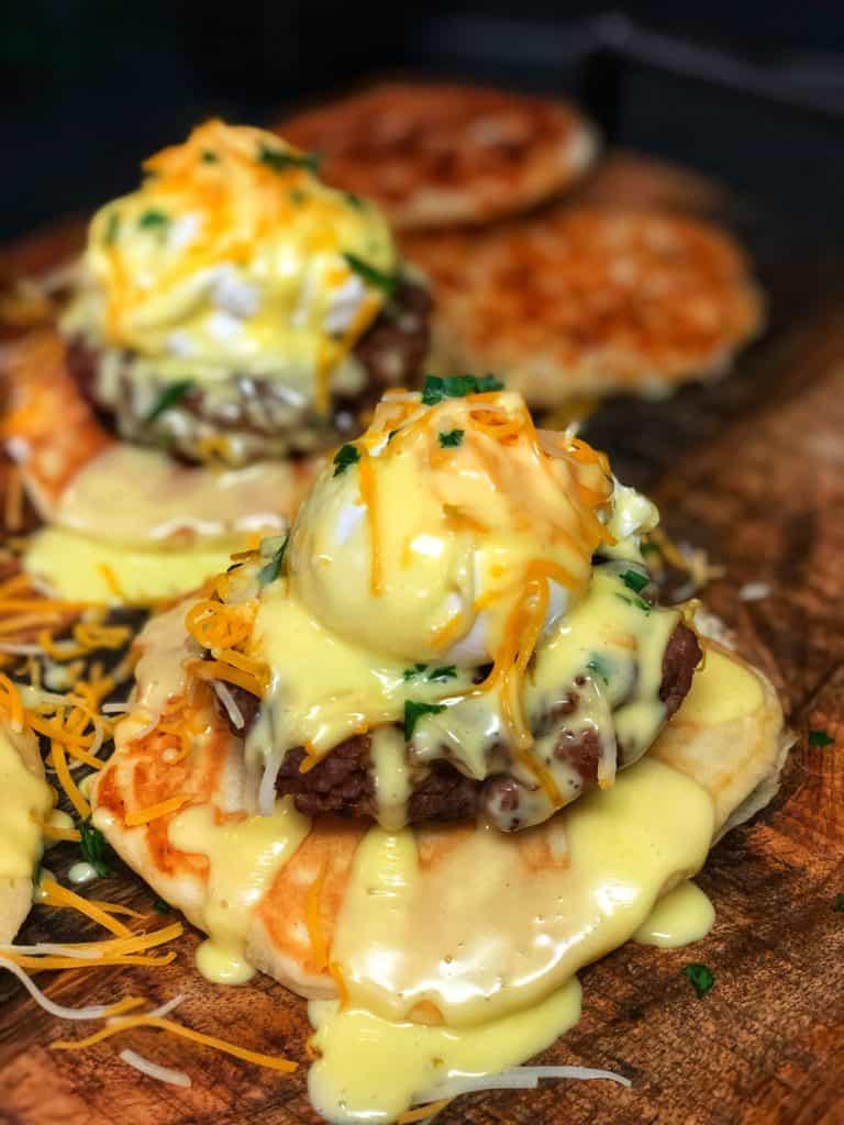 eggs benedict on a pancake