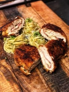 Chicken Cordon Bleu with pasta