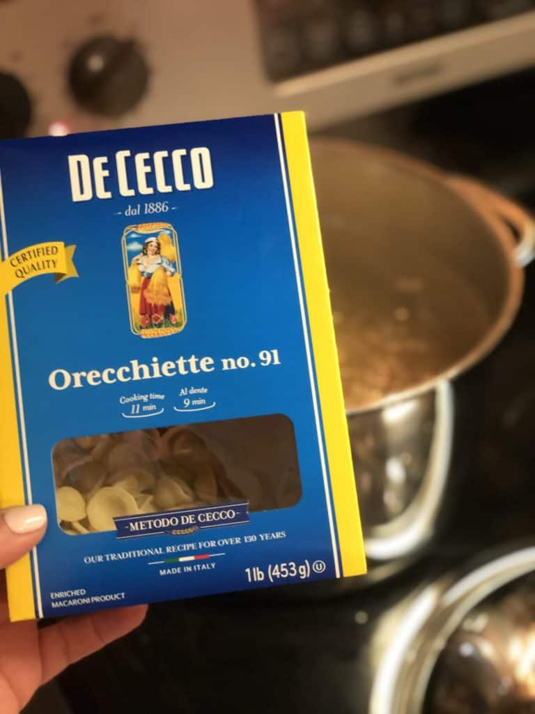 a box of orecchiette to use with my roasted Brussels sprouts