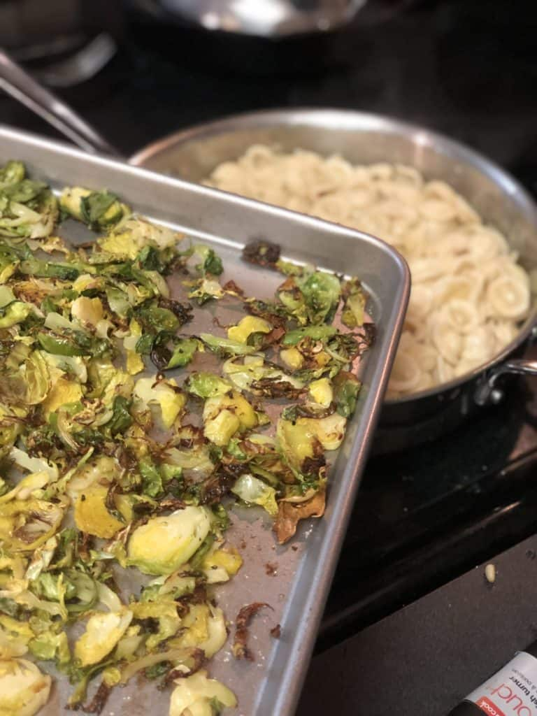 a pan of roasted Brussels sprouts