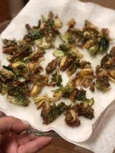 fried Brussels sprouts on a paper towel
