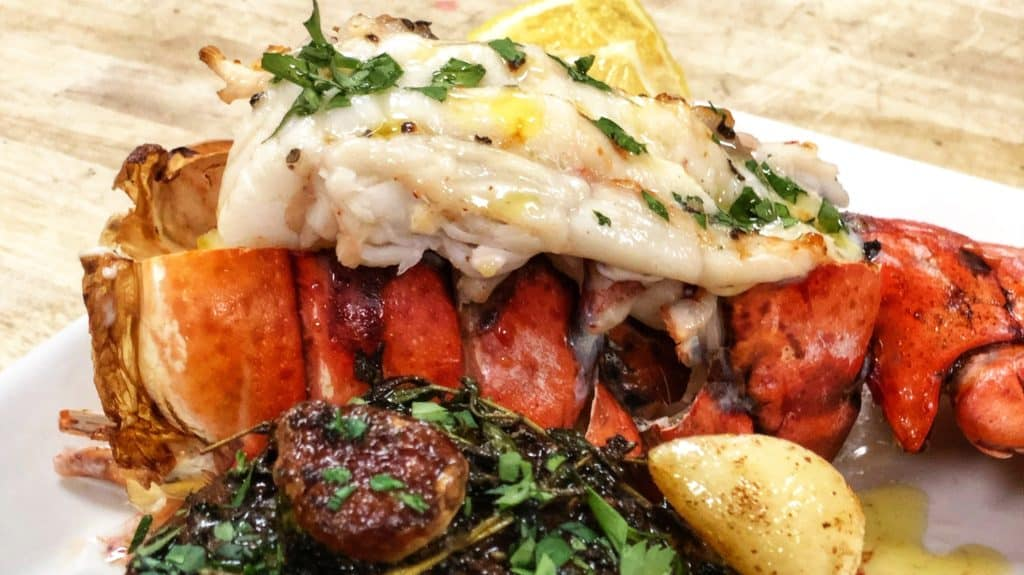 a broiled lobster tail