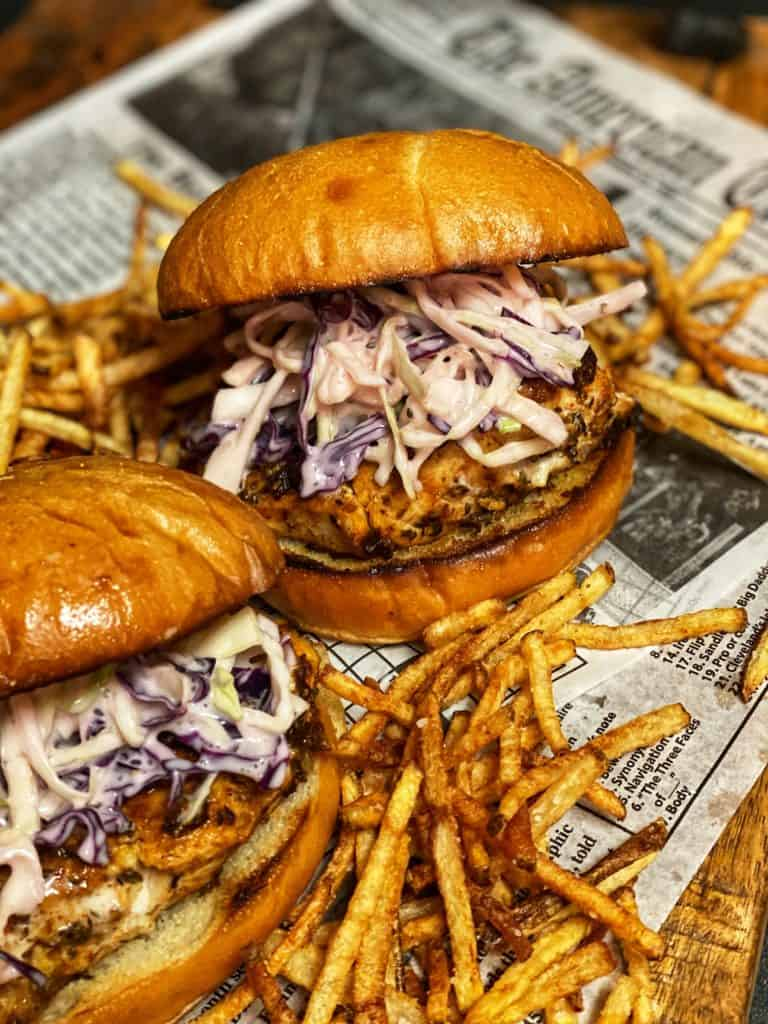 blackened grouper sandwiches with homemade fries