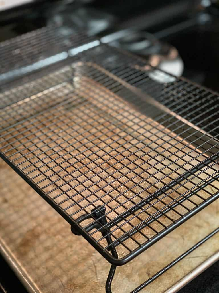 baking rack coated with nonstick spray