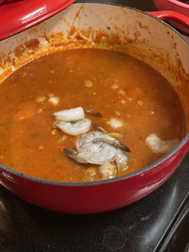 shrimp in seafood stew - cioppino