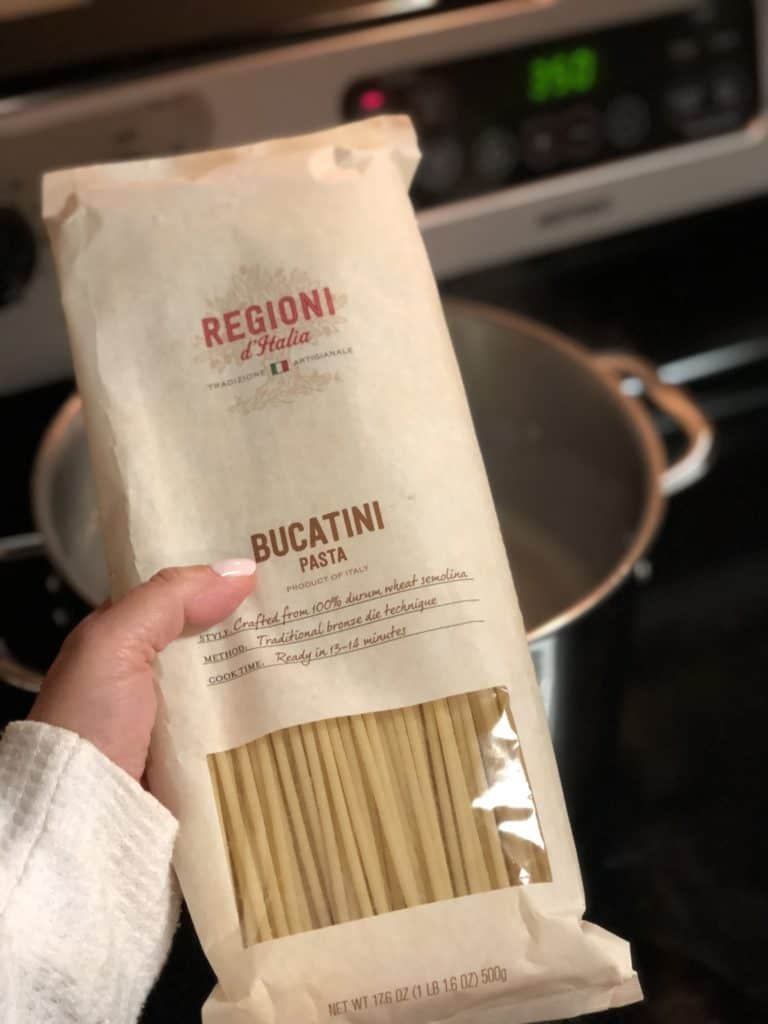 a bag of bucatini pasta