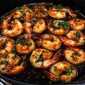 a pan of honey garlic shrimp in brown butter