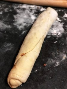 a roll of cinnamon dough