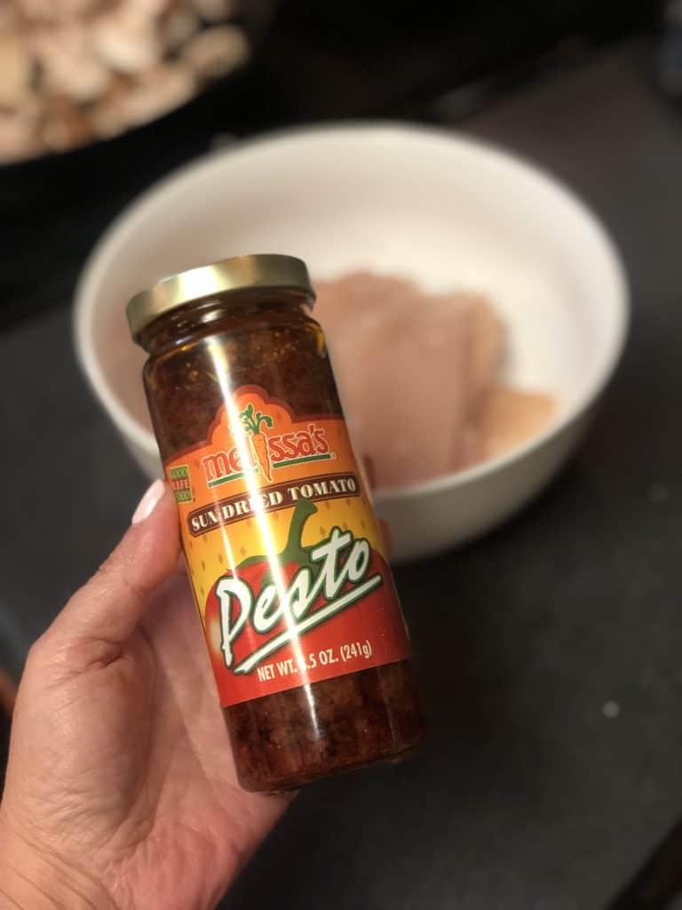 a bottle of sun dried tomato pesto for my Garlic Mushroom Chicken with Tomato Pesto Cream