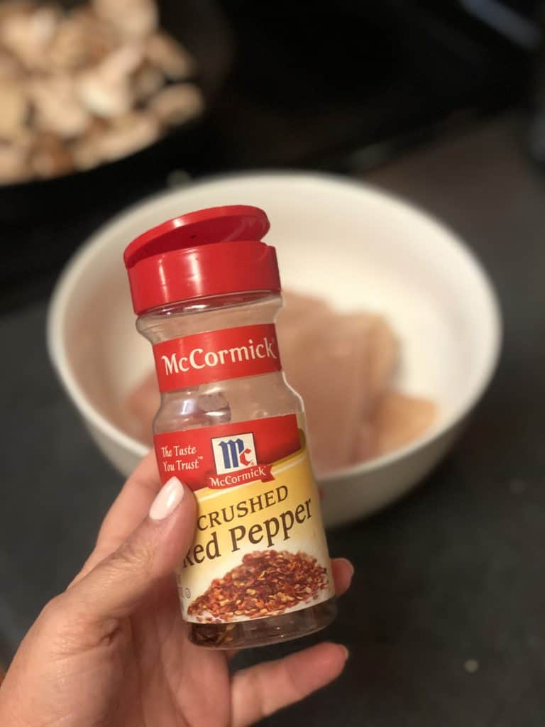 a bottle of McCormick crushed red pepper