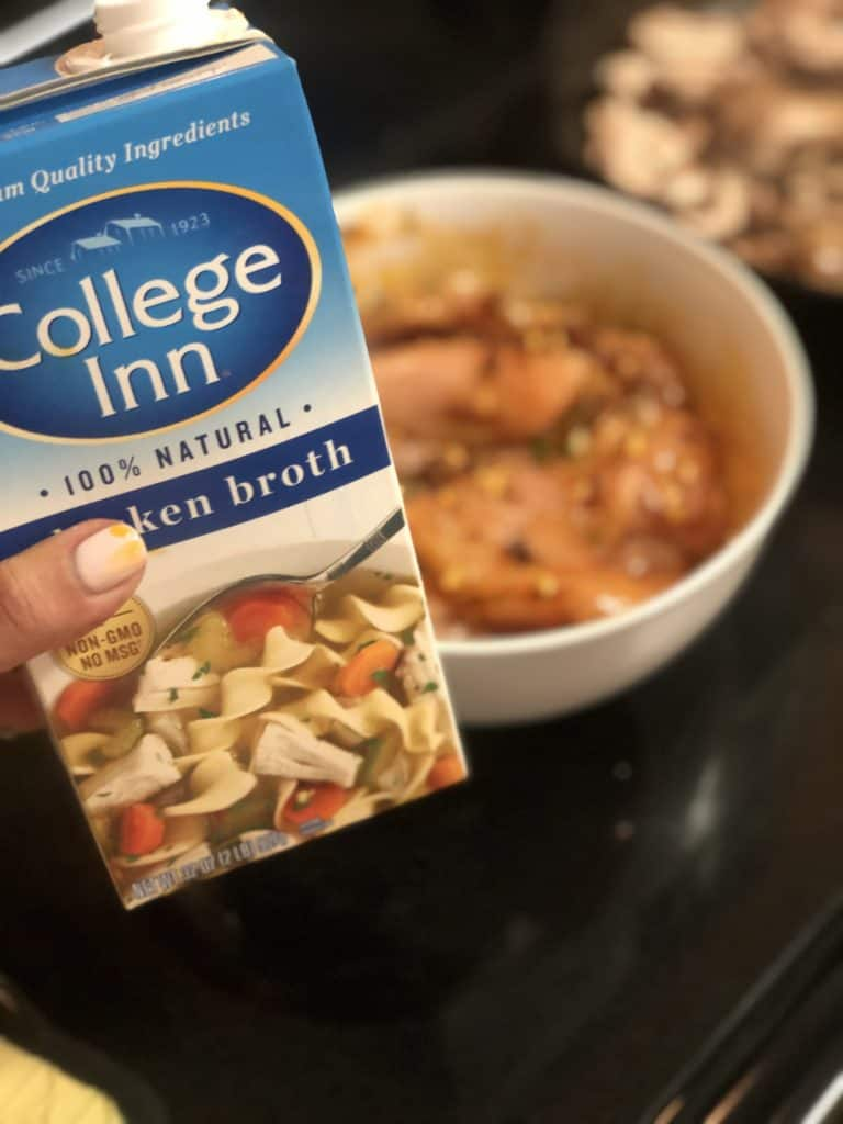 a carton of College Inn chicken broth