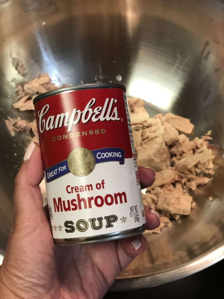 a can of Campbell's cream of mushroom soup