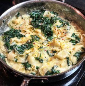 a pan of spinach ricotta pasta