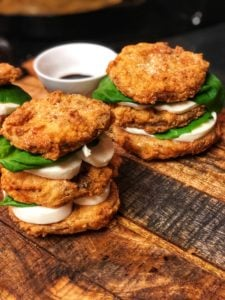 two fried green tomato caprese stacks