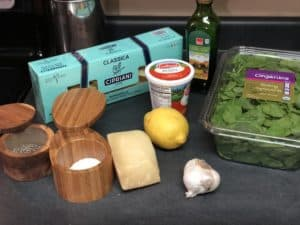 ingredients for spinach ricotta pasta