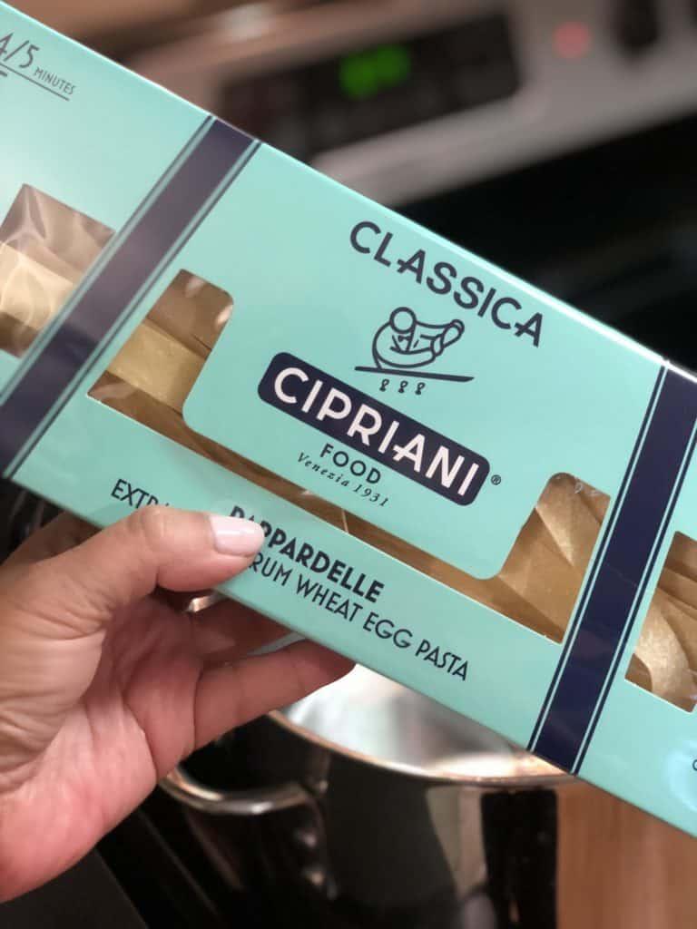 a box of Cipriani pasta for spinach ricotta pasta