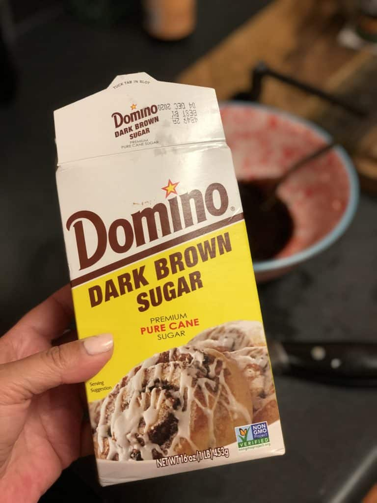 a box of Domino brown sugar